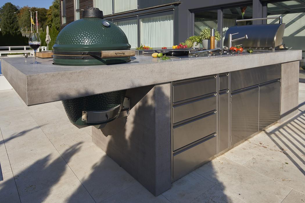 Outdoor Küchen Aus Beton : Chromstahl trifft beton outdoor küchen